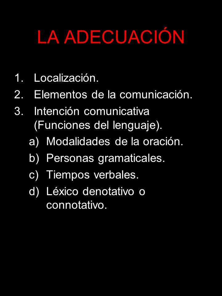 LA ADECUACIÓN 1.Localización. 2.Elementos de la comunicación. 3.Intención comunicativa (Funciones del lenguaje). a)Modalidades de la oración. b)Person