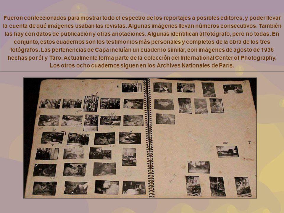 Fueron confeccionados para mostrar todo el espectro de los reportajes a posibles editores, y poder llevar la cuenta de qué imágenes usaban las revistas.