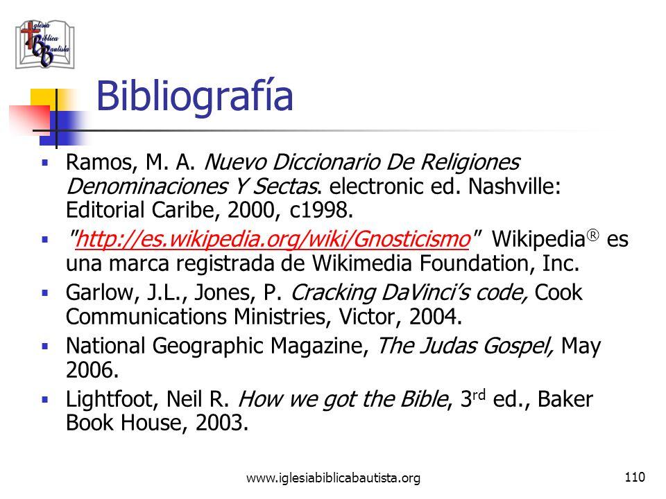 www.iglesiabiblicabautista.org 109 Conclusión Leamos: Romanos 1:18-32 Juan 5:39 Mateo 16:13-16