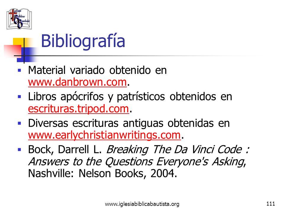 www.iglesiabiblicabautista.org 110 Bibliografía Ramos, M. A. Nuevo Diccionario De Religiones Denominaciones Y Sectas. electronic ed. Nashville: Editor