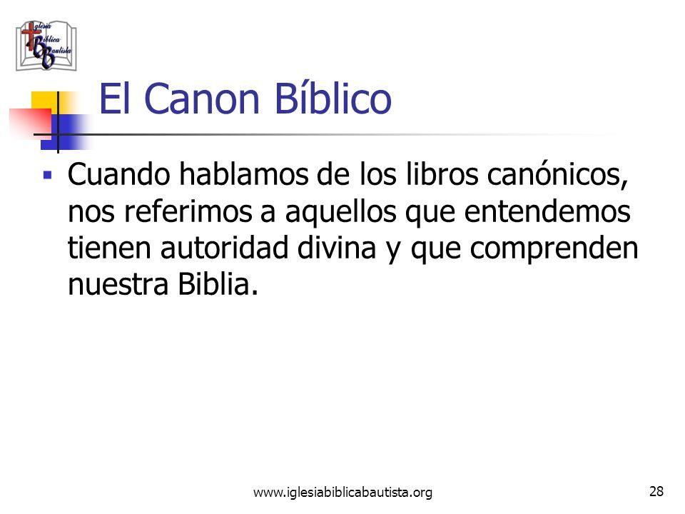 www.iglesiabiblicabautista.org 27 El Canon Bíblico La palabra canon viene del griego kanon ( ) y del hebreo qaneh ( qaneh ) y quiere decir caña. Debid