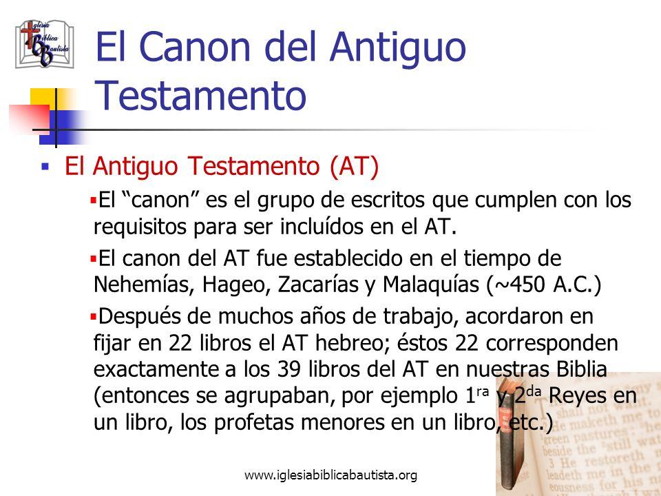 www.iglesiabiblicabautista.org 33 El Canon del Antiguo Testamento El Antiguo Testamento (AT) Hay 5 categorías básicas en el AT: Ley5 libros Génesis ha