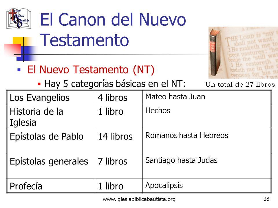 www.iglesiabiblicabautista.org 37 Entre el AT y el NT ¿Por qué se rechazan los apócrifos? Nunca fueron aceptados por los judíos en el AT ni por la igl