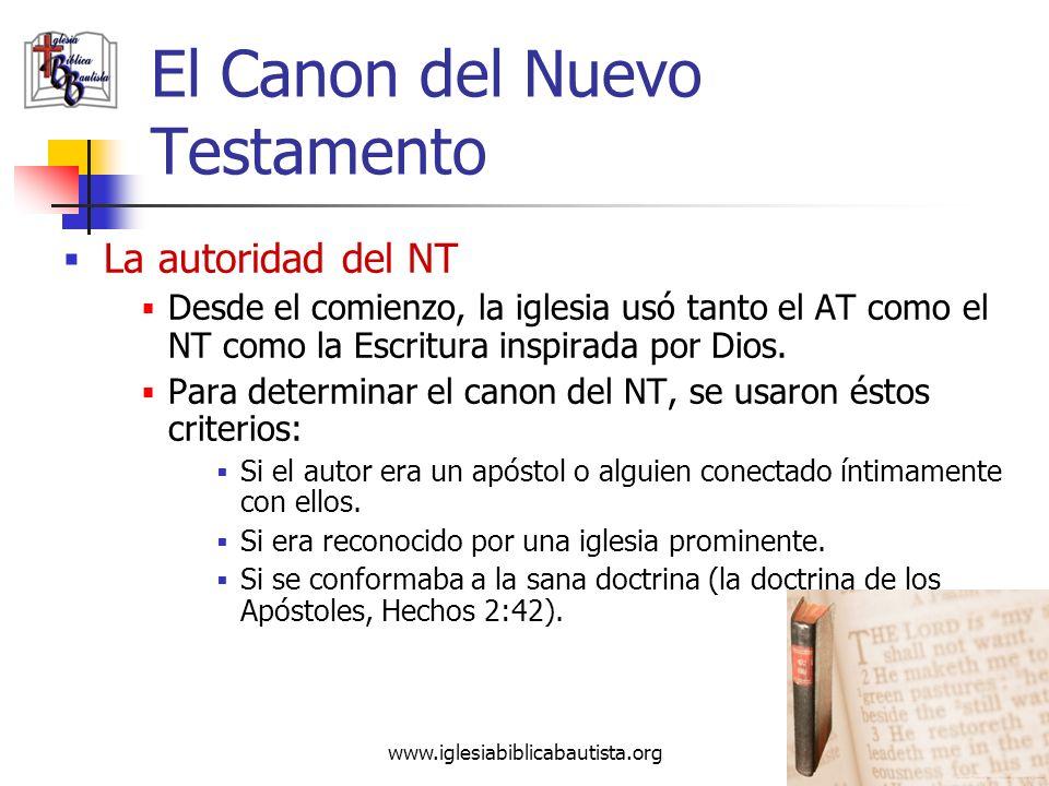 www.iglesiabiblicabautista.org 38 El Canon del Nuevo Testamento El Nuevo Testamento (NT) Hay 5 categorías básicas en el NT: Los Evangelios4 libros Mat