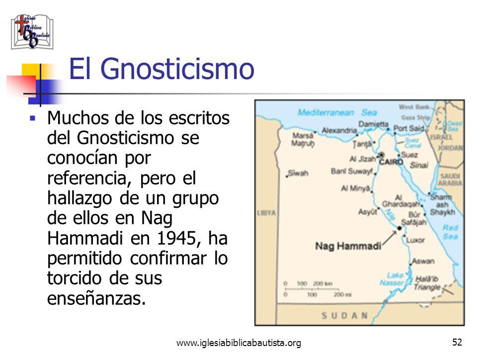 www.iglesiabiblicabautista.org 51 El Gnosticismo También Marción figuró entre sus principales maestros. Negó la humanidad de Cristo, diciendo que Cris
