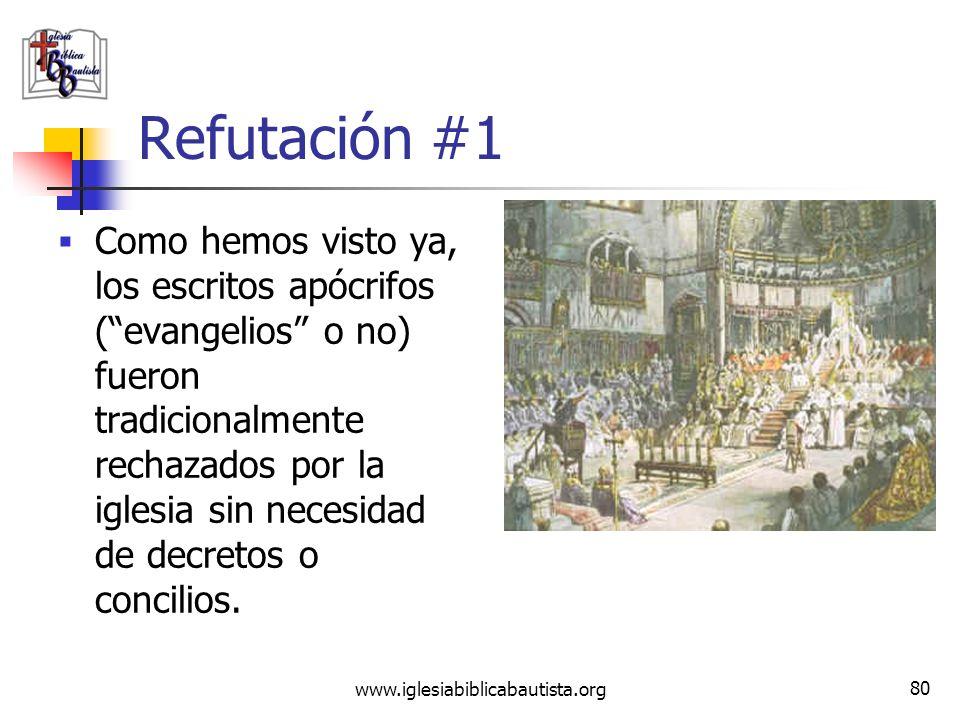 www.iglesiabiblicabautista.org 79 Refutación #1 Como hemos visto, los cuatro evangelios ya eran aceptados más de 150 años antes del concilio de Nicea.