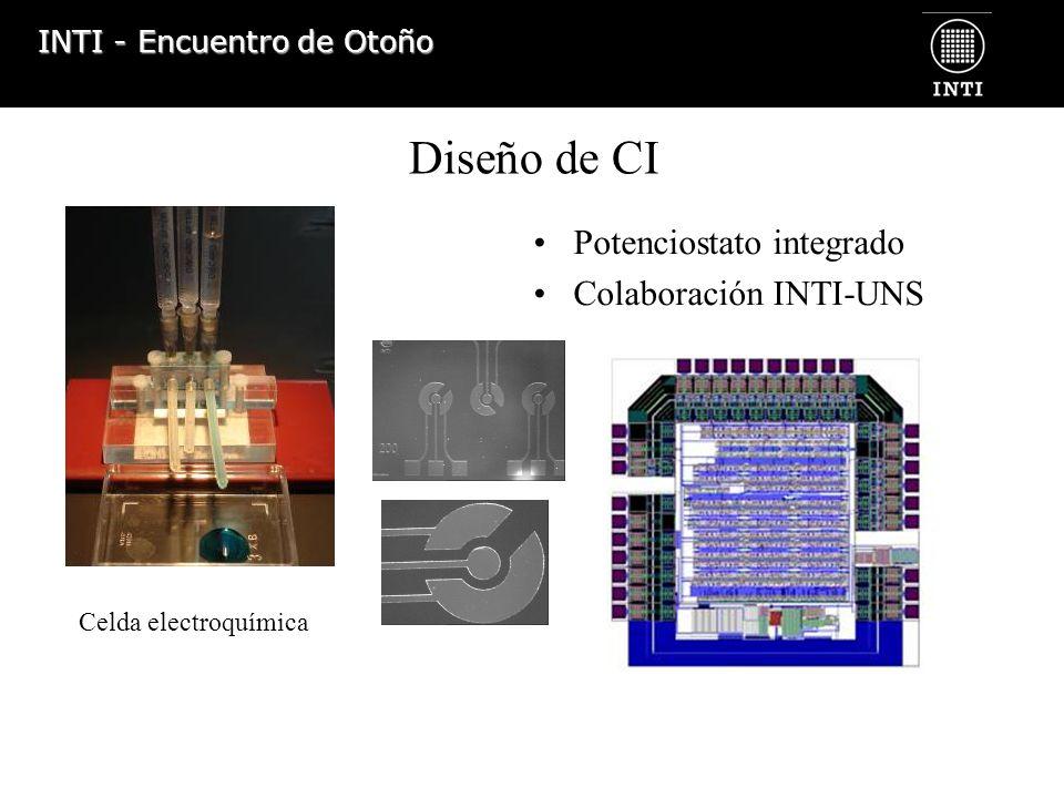 INTI - Encuentro de Otoño Potenciostato integrado Colaboración INTI-UNS Diseño de CI Celda electroquímica