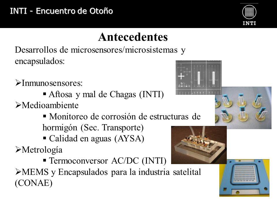 INTI - Encuentro de Otoño Antecedentes Desarrollos de microsensores/microsistemas y encapsulados: Inmunosensores: Aftosa y mal de Chagas (INTI) Medioa