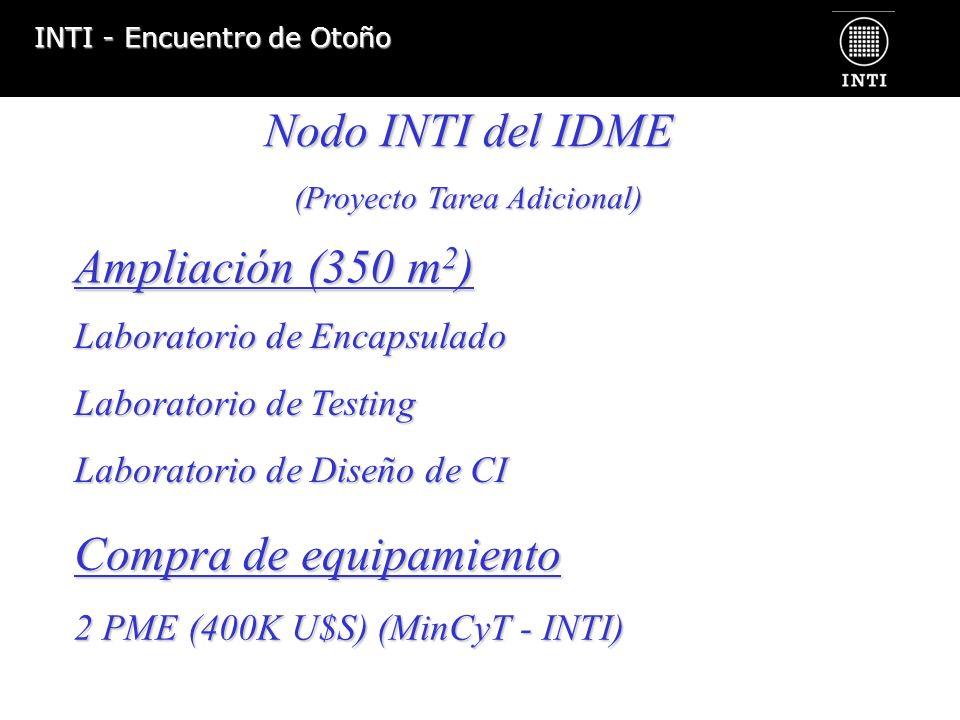 INTI - Encuentro de Otoño Laboratoriode Encapsulado Laboratorio de Encapsulado Laboratorio de Testing Laboratorio de Diseño de CI Nodo INTI del IDME (