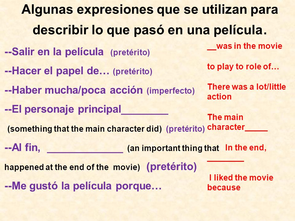 Algunas expresiones que se utilizan para describir lo que pasó en una película. --Salir en la película (pretérito) --Hacer el papel de… (pretérito) --