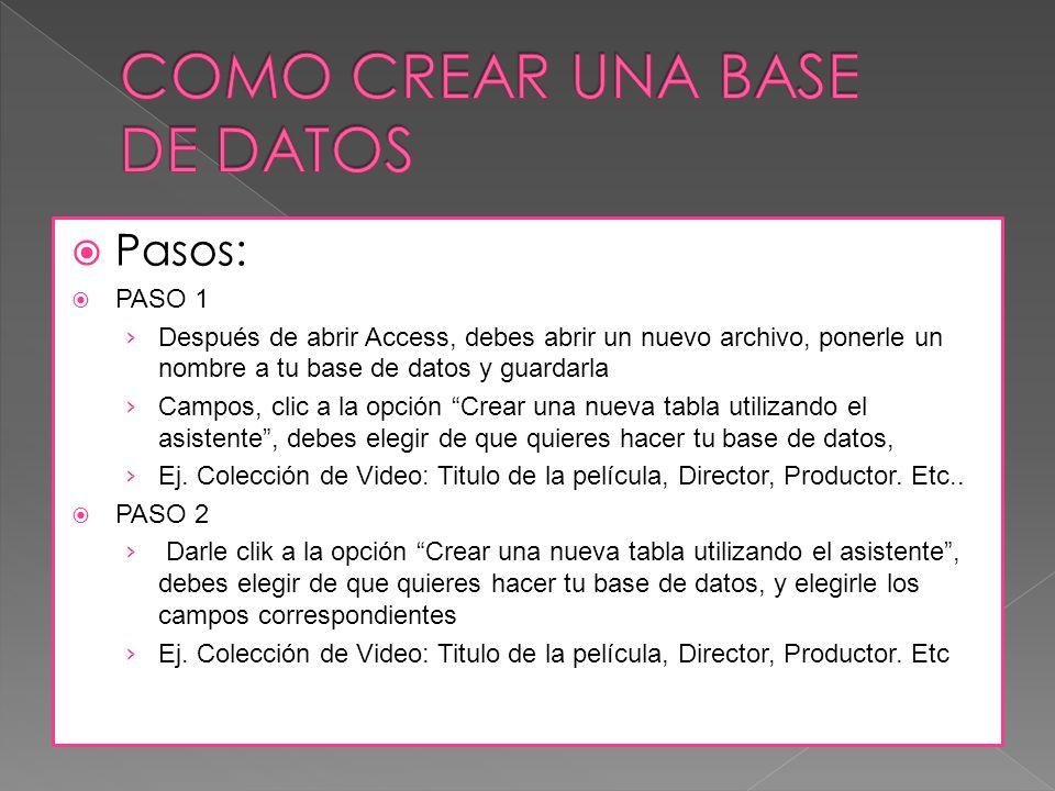 Pasos: PASO 1 Después de abrir Access, debes abrir un nuevo archivo, ponerle un nombre a tu base de datos y guardarla Campos, clic a la opción Crear una nueva tabla utilizando el asistente, debes elegir de que quieres hacer tu base de datos, Ej.