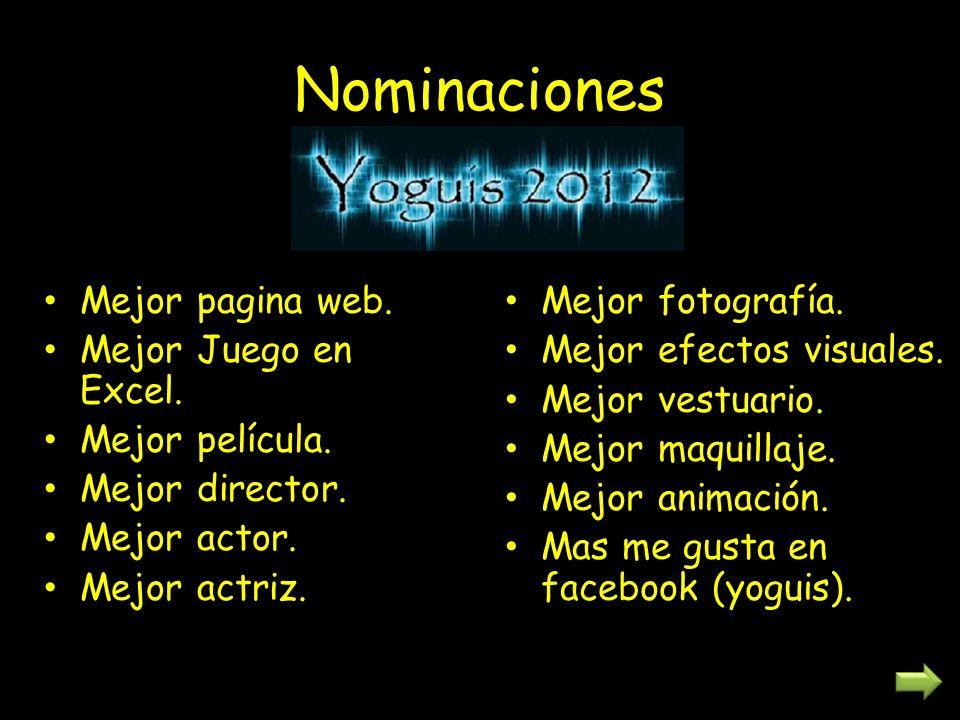Nominaciones Mejor pagina web. Mejor Juego en Excel. Mejor película. Mejor director. Mejor actor. Mejor actriz. Mejor fotografía. Mejor efectos visual