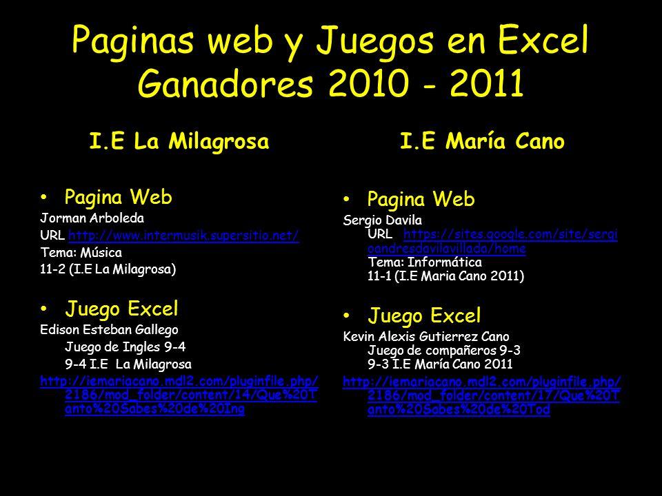 Paginas web y Juegos en Excel Ganadores 2010 - 2011 I.E La Milagrosa Pagina Web Jorman Arboleda URL http://www.intermusik.supersitio.net/http://www.intermusik.supersitio.net/ Tema: Música 11-2 (I.E La Milagrosa) Juego Excel Edison Esteban Gallego Juego de Ingles 9-4 9-4 I.E La Milagrosa http://iemariacano.mdl2.com/pluginfile.php/ 2186/mod_folder/content/14/Que%20T anto%20Sabes%20de%20Inghttp://iemariacano.mdl2.com/pluginfile.php/ 2186/mod_folder/content/14/Que%20T anto%20Sabes%20de%20Ing La Milagrosa 2010) I.E María Cano Pagina Web Sergio Davila URL https://sites.google.com/site/sergi oandresdavilavillada/home Tema: Informática 11-1 (I.E Maria Cano 2011)https://sites.google.com/site/sergi oandresdavilavillada/home Juego Excel Kevin Alexis Gutierrez Cano Juego de compañeros 9-3 9-3 I.E María Cano 2011 http://iemariacano.mdl2.com/pluginfile.php/ 2186/mod_folder/content/17/Que%20T anto%20Sabes%20de%20Tod