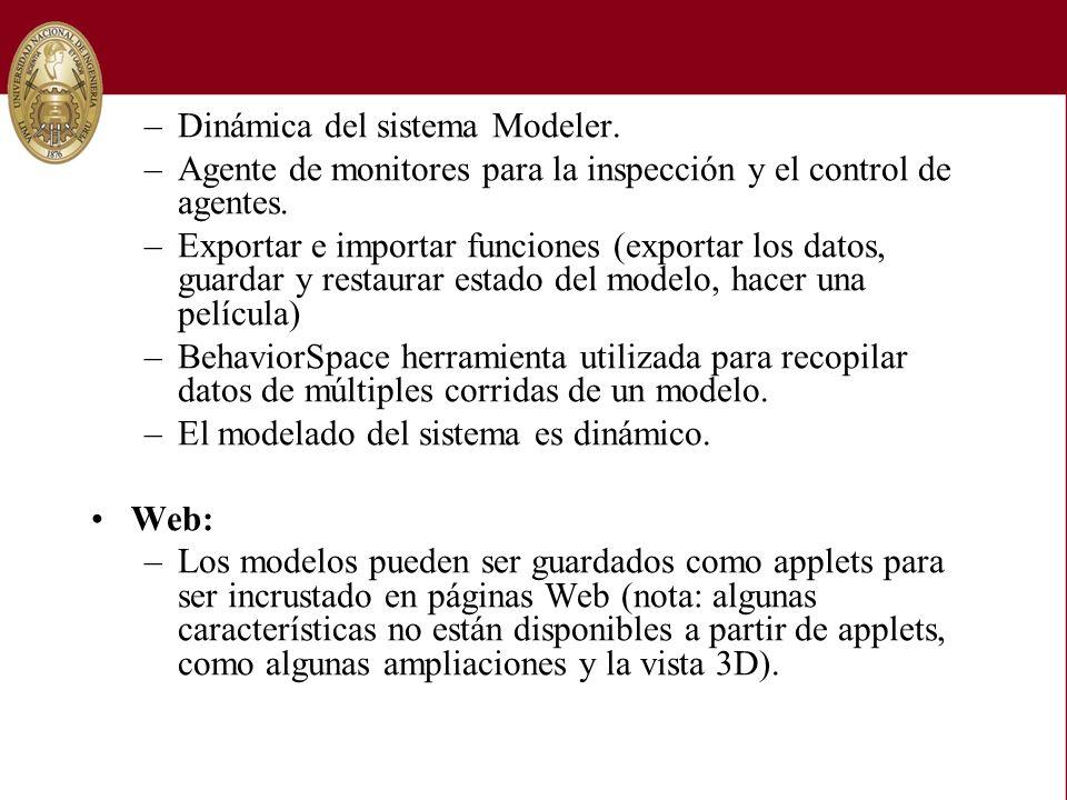 –Dinámica del sistema Modeler. –Agente de monitores para la inspección y el control de agentes. –Exportar e importar funciones (exportar los datos, gu