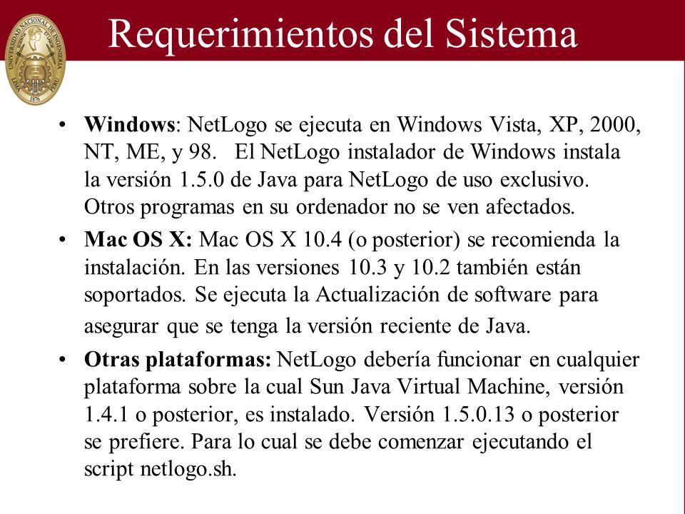 Requerimientos del Sistema Windows: NetLogo se ejecuta en Windows Vista, XP, 2000, NT, ME, y 98. El NetLogo instalador de Windows instala la versión 1