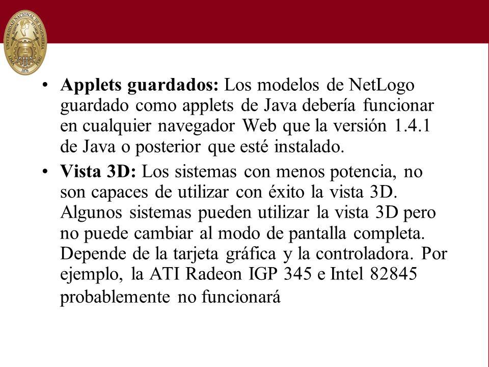 Applets guardados: Los modelos de NetLogo guardado como applets de Java debería funcionar en cualquier navegador Web que la versión 1.4.1 de Java o po