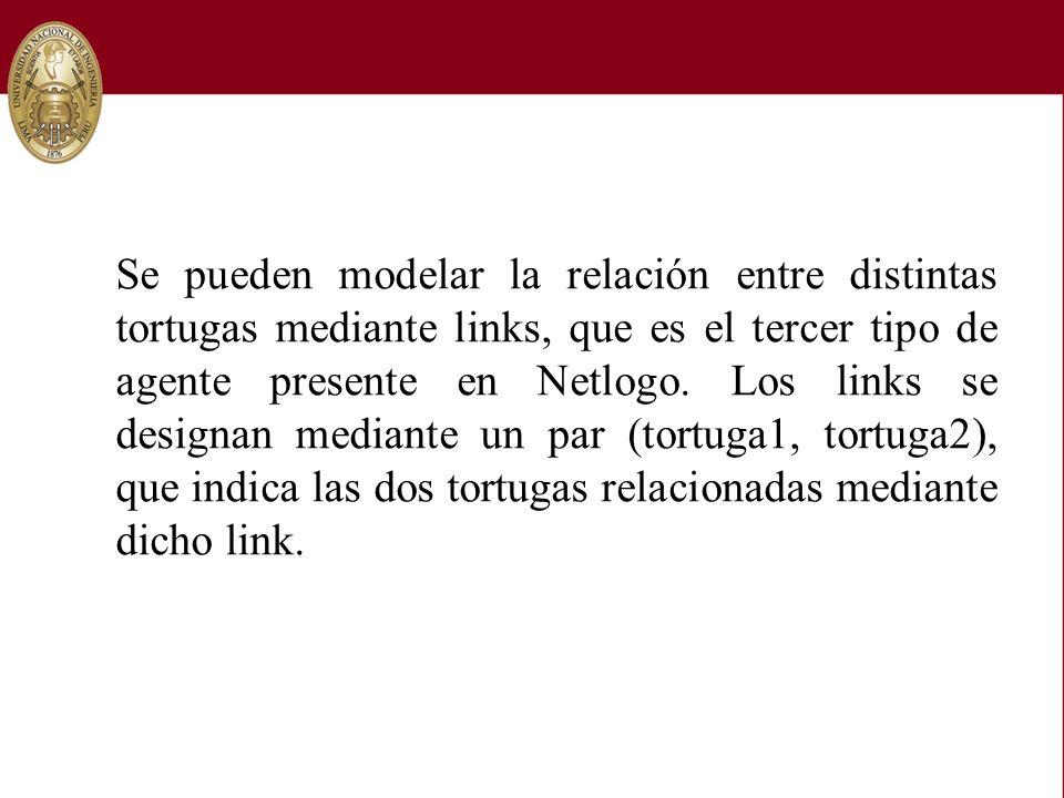 Se pueden modelar la relación entre distintas tortugas mediante links, que es el tercer tipo de agente presente en Netlogo. Los links se designan medi