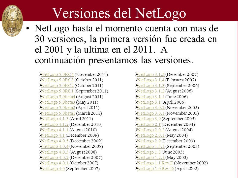 Versiones del NetLogo NetLogo hasta el momento cuenta con mas de 30 versiones, la primera versión fue creada en el 2001 y la ultima en el 2011.