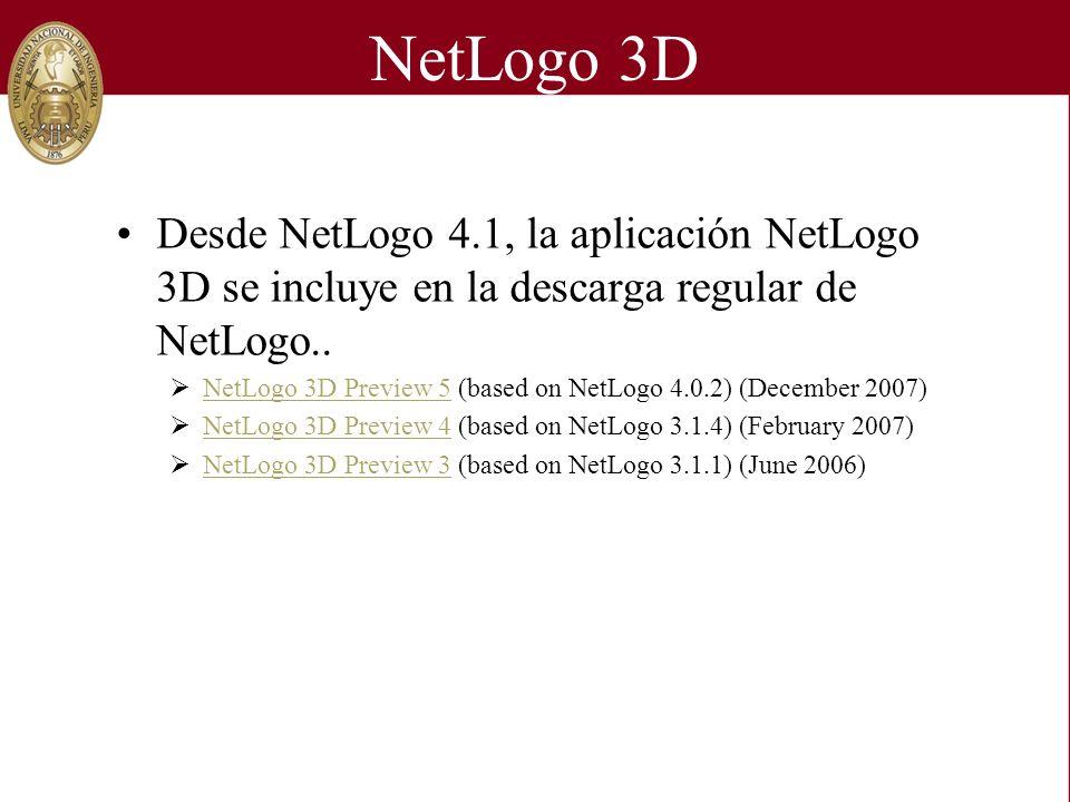NetLogo 3D Desde NetLogo 4.1, la aplicación NetLogo 3D se incluye en la descarga regular de NetLogo.. NetLogo 3D Preview 5 (based on NetLogo 4.0.2) (D