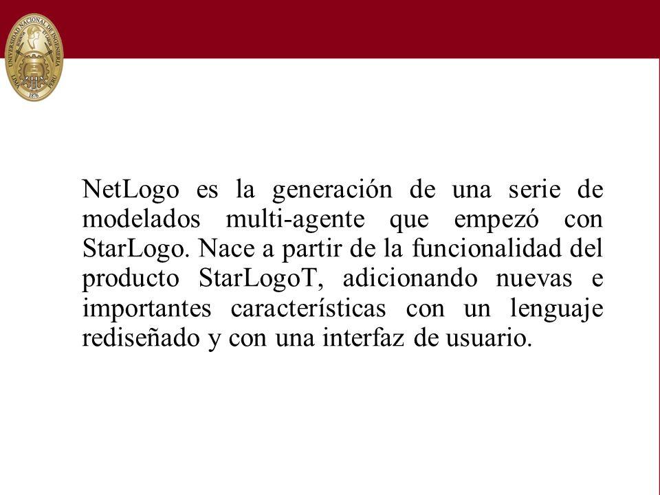 NetLogo es la generación de una serie de modelados multi-agente que empezó con StarLogo. Nace a partir de la funcionalidad del producto StarLogoT, adi