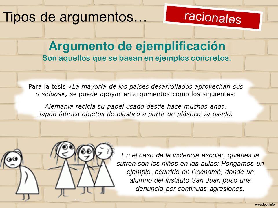 Tipos de argumentos… racionales Para la tesis «La mayoría de los países desarrollados aprovechan sus residuos», se puede apoyar en argumentos como los