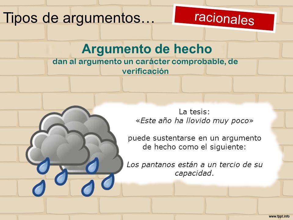 Tipos de argumentos… racionales La tesis: «Este año ha llovido muy poco» puede sustentarse en un argumento de hecho como el siguiente: Los pantanos es