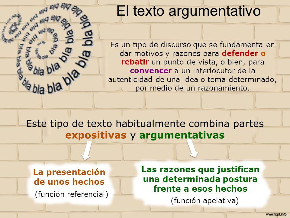 El texto argumentativo Es un tipo de discurso que se fundamenta en dar motivos y razones para defender o rebatir un punto de vista, o bien, para conve