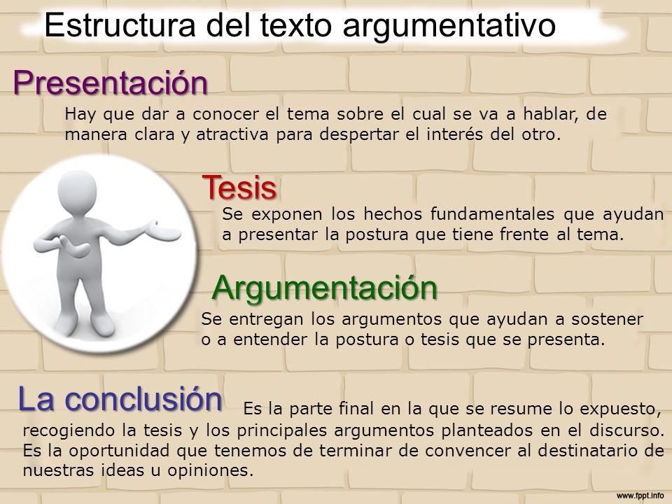 Estructura del texto argumentativoPresentación Tesis Argumentación La conclusión Hay que dar a conocer el tema sobre el cual se va a hablar, de manera