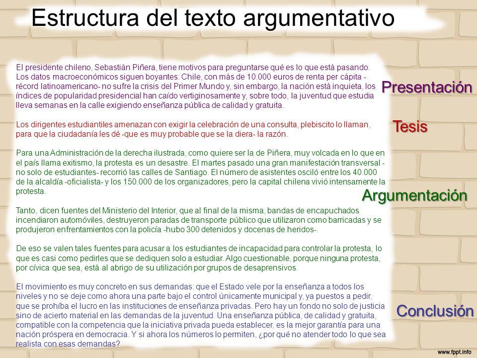 Estructura del texto argumentativo El presidente chileno, Sebastián Piñera, tiene motivos para preguntarse qué es lo que está pasando. Los datos macro