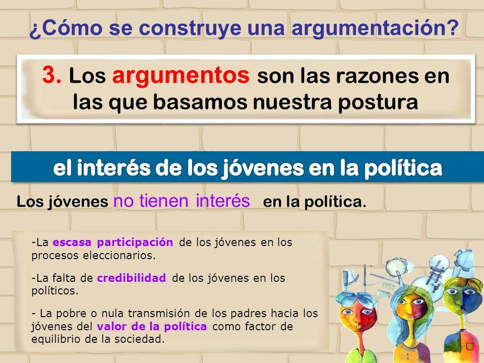 ¿Cómo se construye una argumentación? 3. Los argumentos son las razones en las que basamos nuestra postura -La escasa participación de los jóvenes en