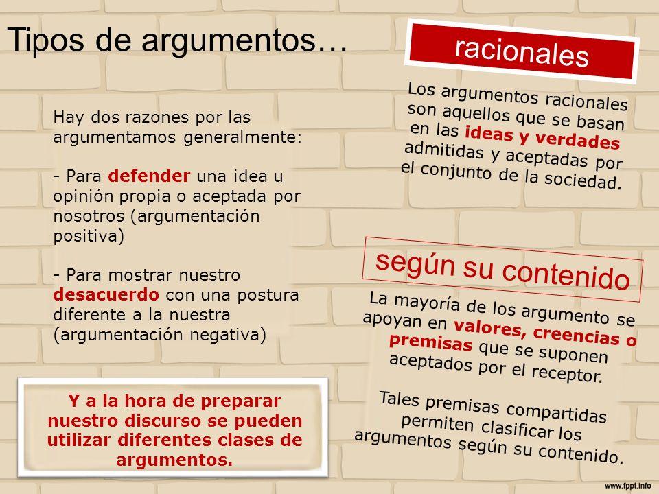 Tipos de argumentos… Hay dos razones por las argumentamos generalmente: - Para defender una idea u opinión propia o aceptada por nosotros (argumentaci