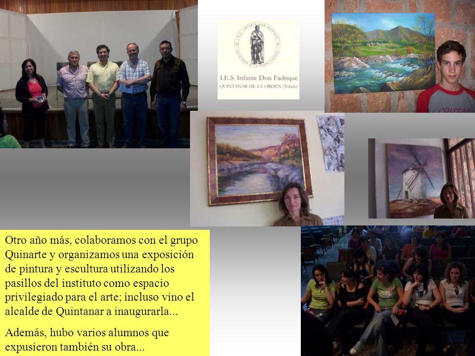 Otro año más, colaboramos con el grupo Quinarte y organizamos una exposición de pintura y escultura utilizando los pasillos del instituto como espacio