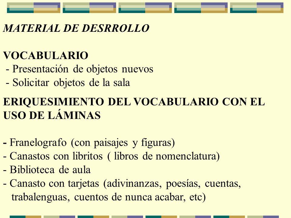 MATERIAL DE DESRROLLO VOCABULARIO - Presentación de objetos nuevos - Solicitar objetos de la sala ERIQUESIMIENTO DEL VOCABULARIO CON EL USO DE LÁMINAS
