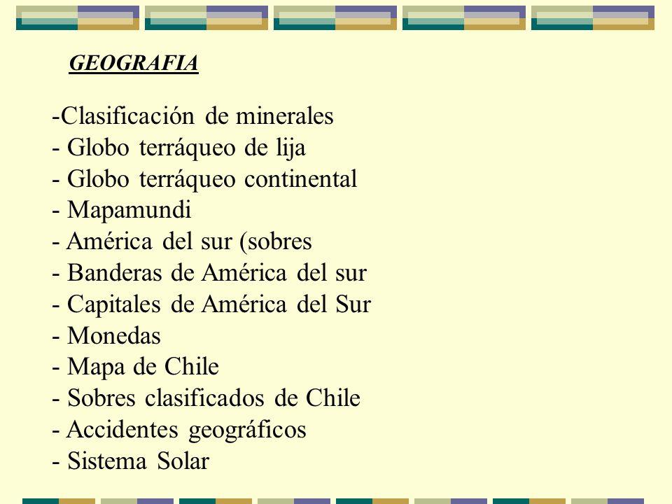 GEOGRAFIA -Clasificación de minerales - Globo terráqueo de lija - Globo terráqueo continental - Mapamundi - América del sur (sobres - Banderas de Amér