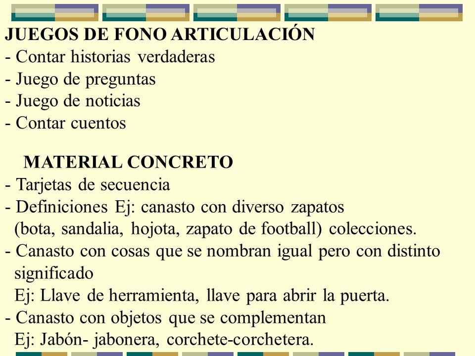 JUEGOS DE FONO ARTICULACIÓN - Contar historias verdaderas - Juego de preguntas - Juego de noticias - Contar cuentos MATERIAL CONCRETO - Tarjetas de se