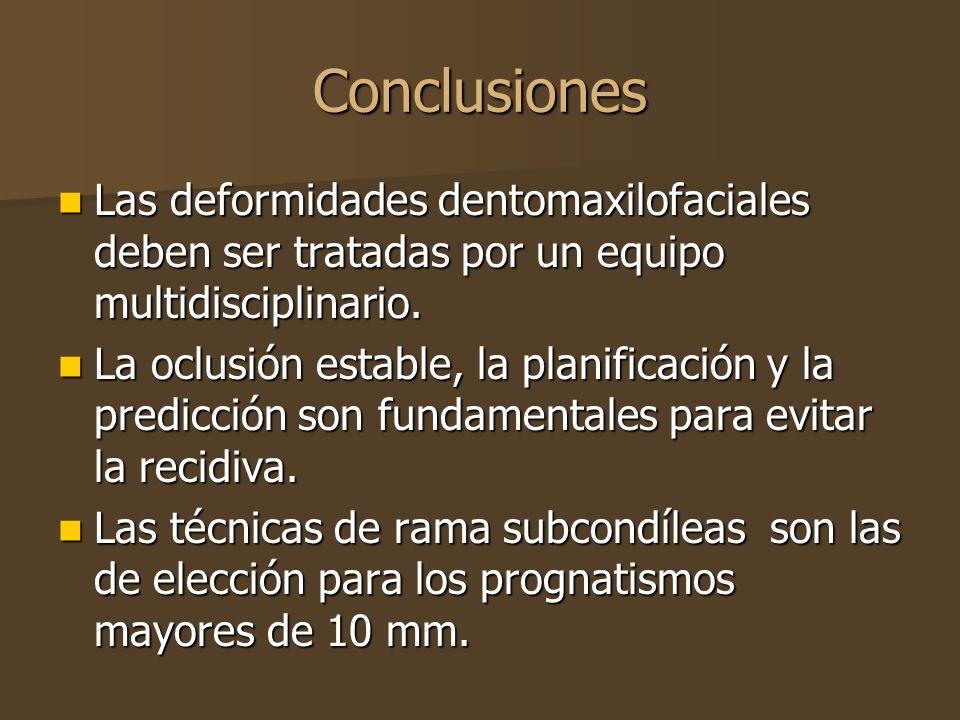 Conclusiones Las deformidades dentomaxilofaciales deben ser tratadas por un equipo multidisciplinario. Las deformidades dentomaxilofaciales deben ser