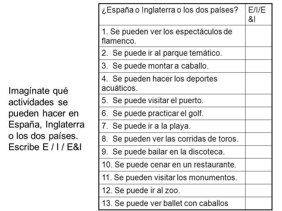 ¿España o Inglaterra o los dos países?E/I/E &I 1. Se pueden ver los espectáculos de flamenco. 2. Se puede ir al parque temático. 3. Se puede montar a