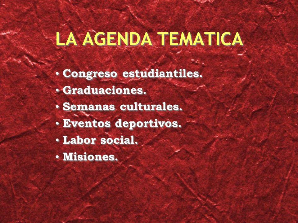 LA AGENDA TEMATICA Congreso estudiantiles. Graduaciones.