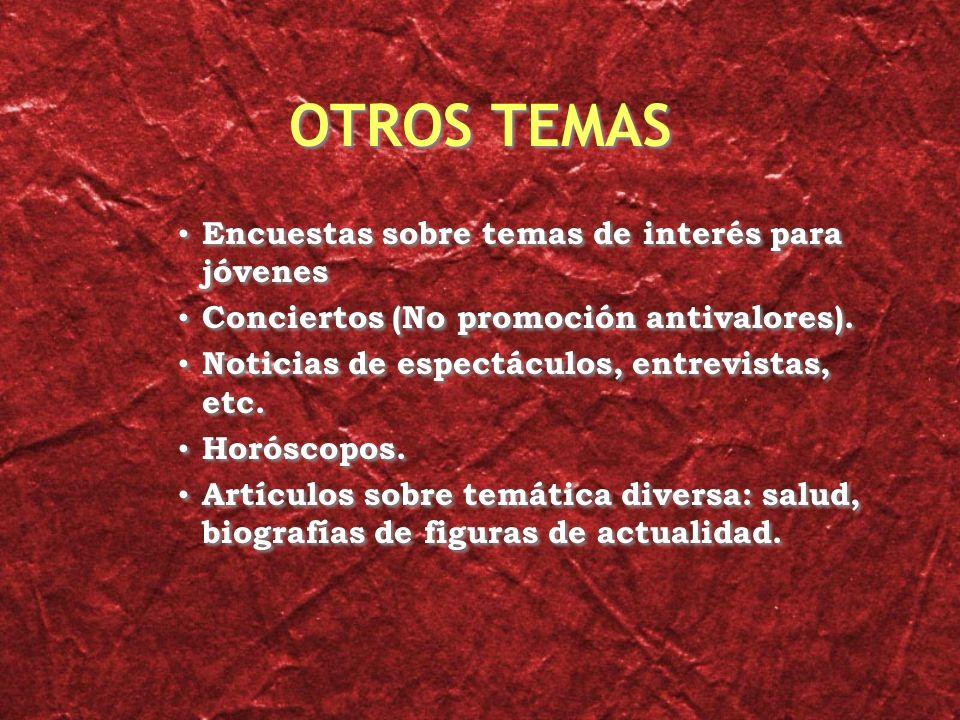 OTROS TEMAS Encuestas sobre temas de interés para jóvenes Conciertos (No promoción antivalores).