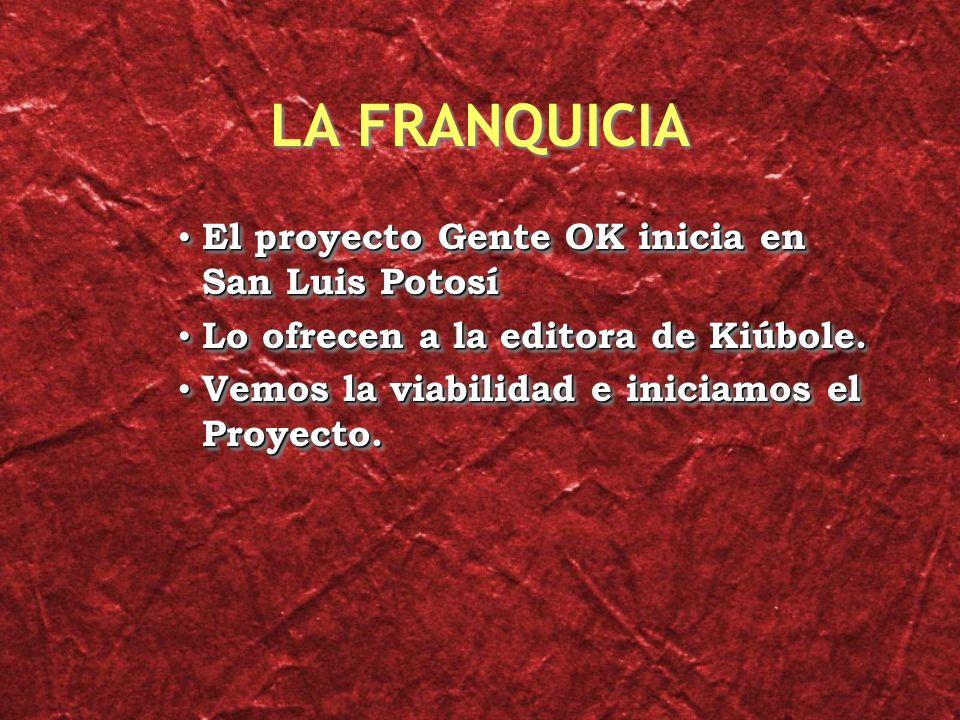 LA FRANQUICIA El proyecto Gente OK inicia en San Luis Potosí El proyecto Gente OK inicia en San Luis Potosí Lo ofrecen a la editora de Kiúbole.