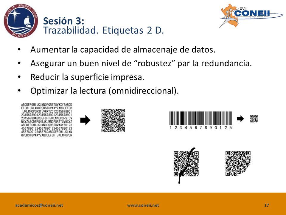 academicos@coneii.net www.coneii.net17 Sesión 3: Trazabilidad.