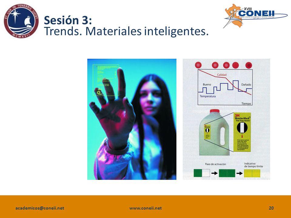 academicos@coneii.net www.coneii.net20 Sesión 3: Trends. Materiales inteligentes.