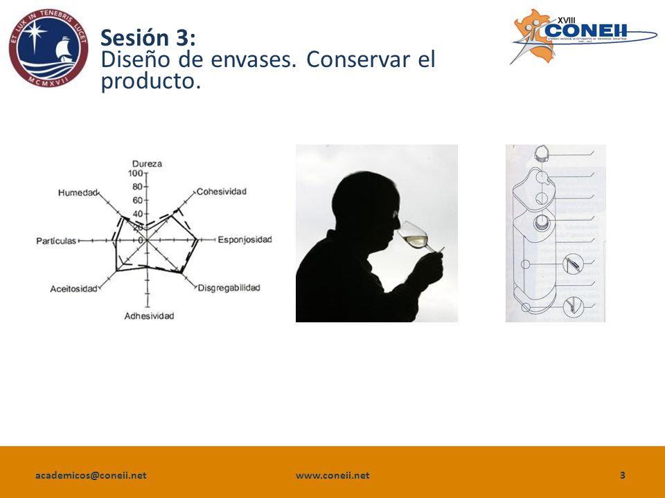 academicos@coneii.net www.coneii.net3 Sesión 3: Diseño de envases. Conservar el producto.