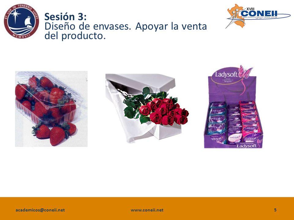 academicos@coneii.net www.coneii.net5 Sesión 3: Diseño de envases. Apoyar la venta del producto.