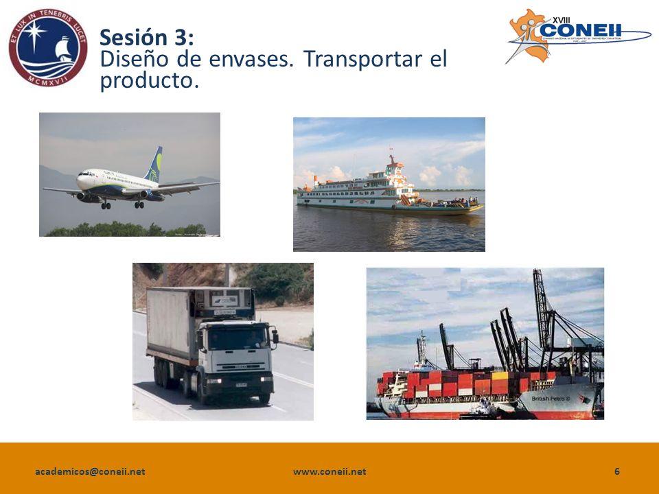 academicos@coneii.net www.coneii.net6 Sesión 3: Diseño de envases. Transportar el producto.