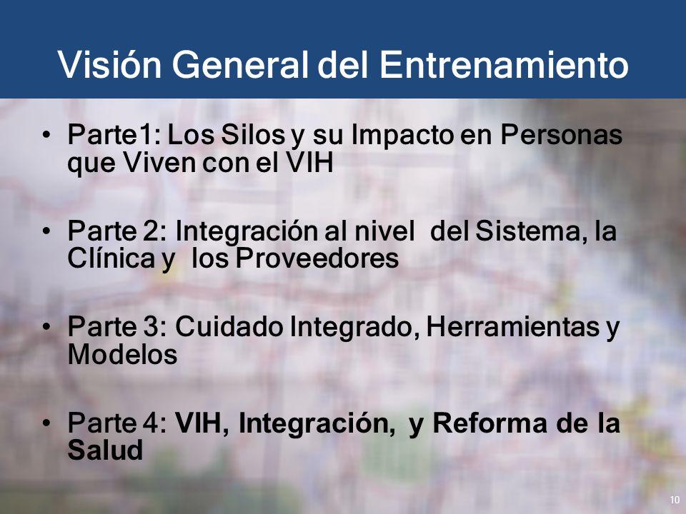 Visión General del Entrenamiento Parte1: Los Silos y su Impacto en Personas que Viven con el VIH Parte 2: Integración al nivel del Sistema, la Clínica