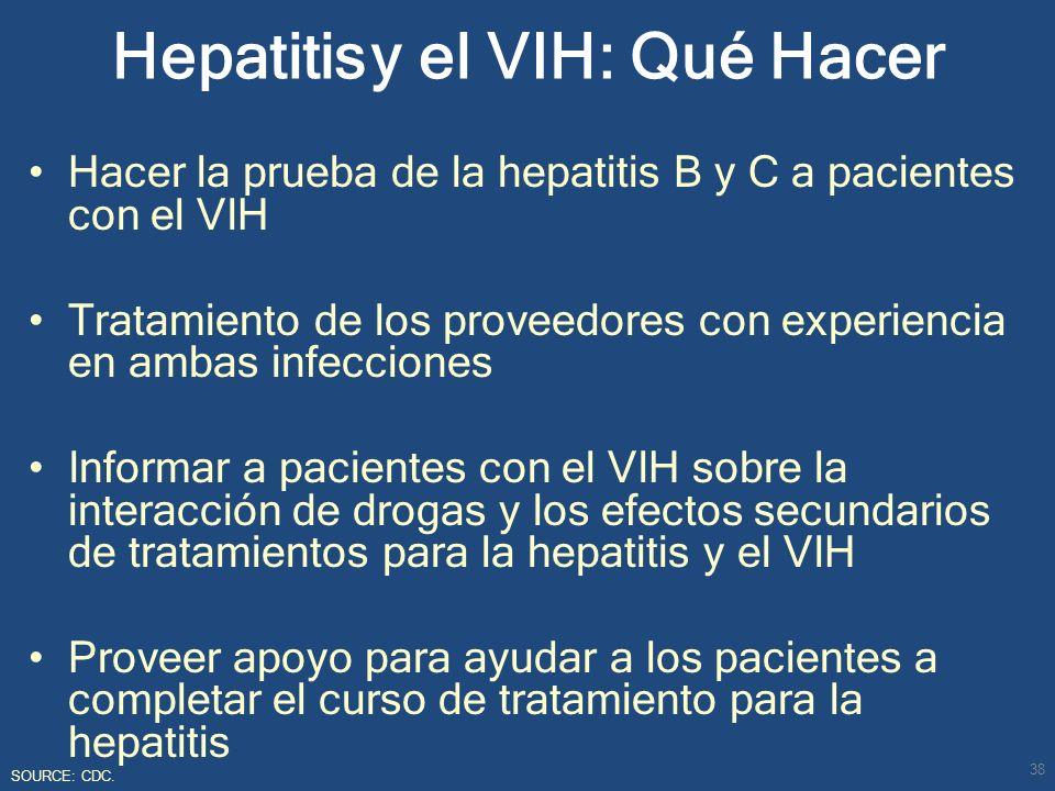Hacer la prueba de la hepatitis B y C a pacientes con el VIH Tratamiento de los proveedores con experiencia en ambas infecciones Informar a pacientes