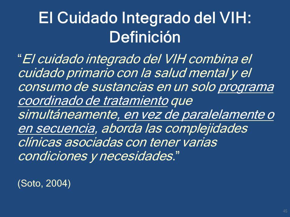 El Cuidado Integrado del VIH: Definición El cuidado integrado del VIH combina el cuidado primario con la salud mental y el consumo de sustancias en un