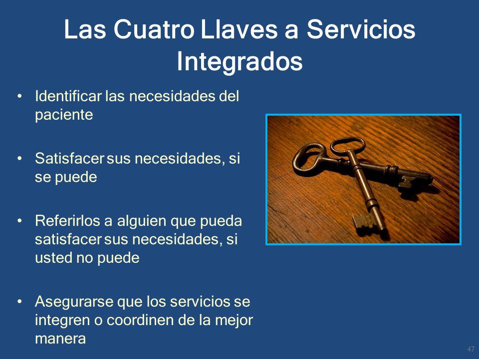 Las Cuatro Llaves a Servicios Integrados Identificar las necesidades del paciente Satisfacer sus necesidades, si se puede Referirlos a alguien que pue