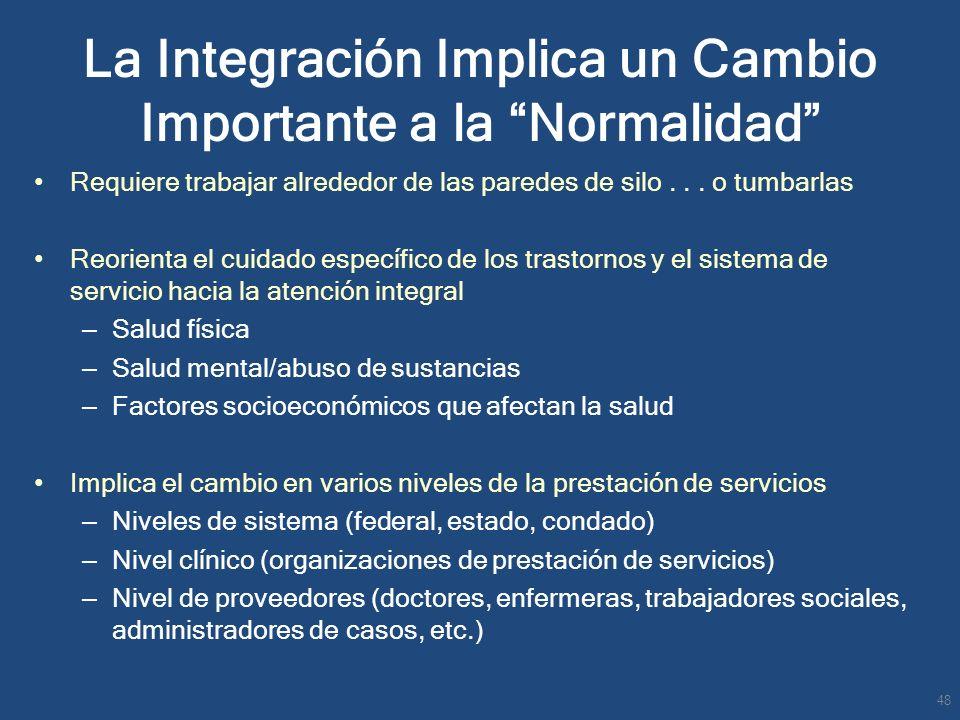 La Integración Implica un Cambio Importante a la Normalidad Requiere trabajar alrededor de las paredes de silo... o tumbarlas Reorienta el cuidado esp
